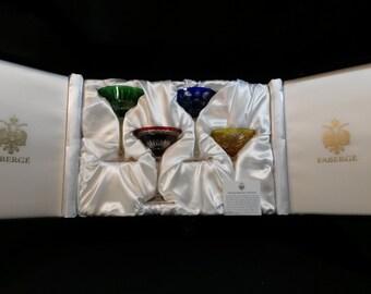 Fabulous! FABERGE Crystal Na Zdorovya Martini Glasses Set of 4