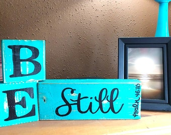 Handmade Bible Verse block letters, Upcycled,  Reclaimed Wood, Hand Painted, Distressed, Photo Prop, Rustic,