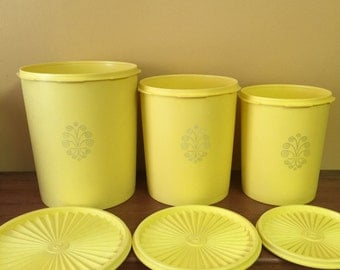 Tubberware Canister Set Bright Yellow with lids