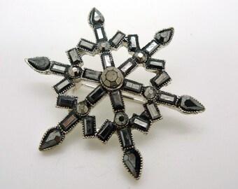 Vintage Black and Silver Rhinestone Sparkle Snowflake Pin Brooch