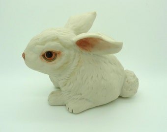 Vintage White Bunny Rabbit at Rest Figurine Collectible Marked Boehm #400-87 USA