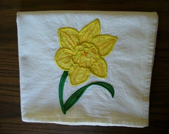 Yellow Daffodil Realistic Applique Flower on Flour Sack Dishtowel