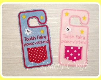 Personalised Tooth Fairy Door Hanging with little pouch for your child's tooth