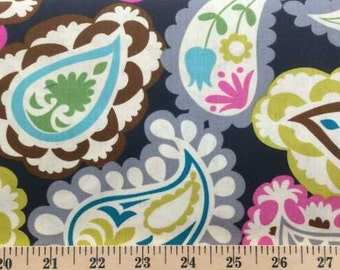 Aqua Gray Paisley Fabric By the Yard, Half, Fat Quarter Roco Beat Gray and Pink 100% Cotton Quilting Apparel Fabric a4/27