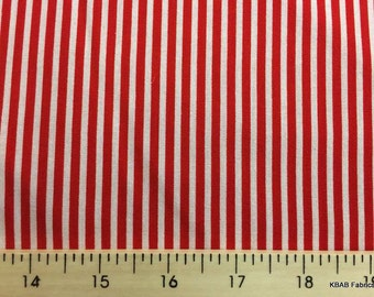 Red & White Mini Stripe Fabric By the Yard, Fat Quarter Red and White Tiny Stripe Small Striped Red Stripe Cotton Quilting Fabric BTY w5/16