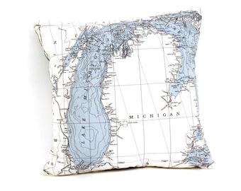 Nautical Map Pillow of Lake Michigan - INDOOR/OUTDOOR