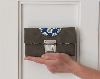 wallet purse of canvas flower blue