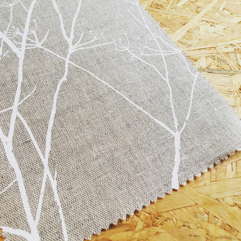 White Linen Beige Fabric Linen Fabric Printed Linen Tree