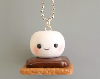 S'mores Marshmallow charms, polymer clay, cute marshmallow, kawaii marshmallow,food charm,Smores,ornament, food pendant