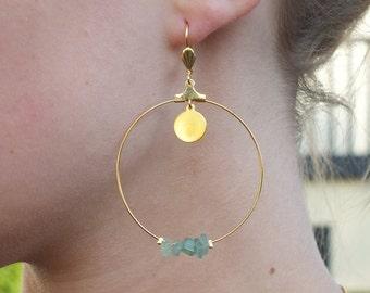 Earrings/creoles, aventurine gemstones