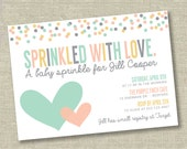 Baby sprinkle invitation, baby shower invitation, confetti baby shower invitation, neutral baby shower invite, girl baby shower invite