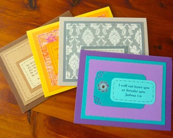 "Set of 4 Inspiring Christian Greeting Cards with Matching 3x5"" Encouragement Cards, Colorful Handmade Bible Verse Scripture Greeting Cards"