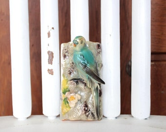 Aqua Ceramic Bird Wall Hanging, Adorable Vintage Piece! // Aqua // Turquoise // Bird // Vintage // Retro // Home Decor // Flowers // Cute