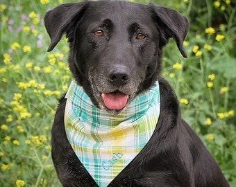 Personalized Spring Plaid Pet Bandana  || Classic Tie Puppy Dog Bandana || Gift by Three Spoiled Dog