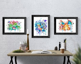 Pokemon PRINTS Bundle Venusaur, Blastoise, Charizard (Pokemon) Painting go J2art