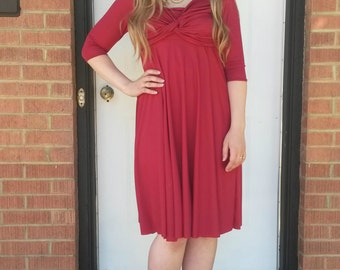 Red Nursing Dress Midi/ Knot Dress/ Twist Dress/ Half Sleeves/ Knee-Length