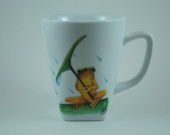 Hand painted ceramic coffee mug 12 oz.; Frog under an umbrella