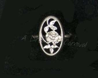 Vintage Rosamonde Silver Tone Avon Rose Filigree Ring Size 7
