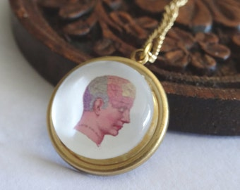Phrenology Head Necklace Golden Psychiatry Organ of the Mind Vintage Style Mans Brain Psychology Pendant PeculiarCollectiveNecklace Inv0173
