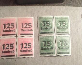 1920s German 2 Block Stamps MNH