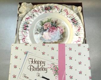 Royal Albert Happy Birthday Floral Plate 2nd Edition  English Bine China