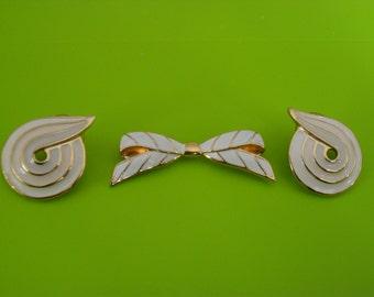 Vintage MONET White Enamel Brooch and Pierced Earrings