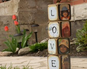 Wooden photo cubes (set of 4)