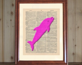 Dolphin Dictionary Print, Dolphin Gift, Dolphin Decor, 3D Dolphin Drawing, Dolphin Nursery Decor, Dolphin Wall Art, Hot Pink Dolphin Print