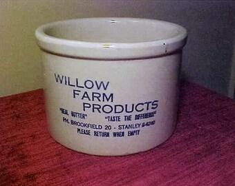 Willow Farm Butter Crock 2lb Crock Chicago Area Dairy Crock