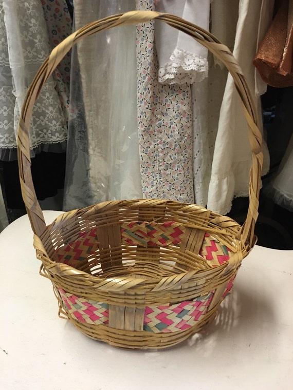 Vintage wicker Easter basket medium size