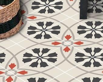 Vinyl Floor Tile Sticker - Floor decals - Carreaux Ciment Encaustic Tulipano Tile Sticker Pack in Black Red