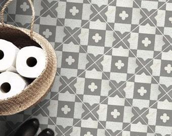 Vinyl Floor Tile Sticker - Floor decals - Carreaux Ciment Encaustic Terazzo Tile Sticker Pack in Grey Stone