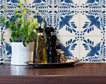 Tile Decals - Tiles for Kitchen/Bathroom Back splash - Floor decals - Mexican Hand Painted Tile Sticker Pack Flora Indigo