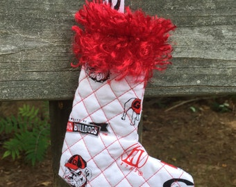 Red and White Georgia Stocking Ornament