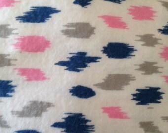 Pack and Play Crib Sheet - Pink, Navy and Gray