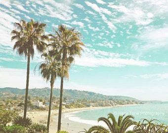 Beach Wall Decor, Laguna Beach, Photography Print, Palm Trees Print, California Coast Wall Art, Outdoor Summer Trends, Beach Photo,
