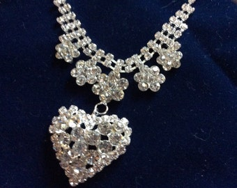 Crystal Heart  Bridal/Wedding/Evening Heart Necklace