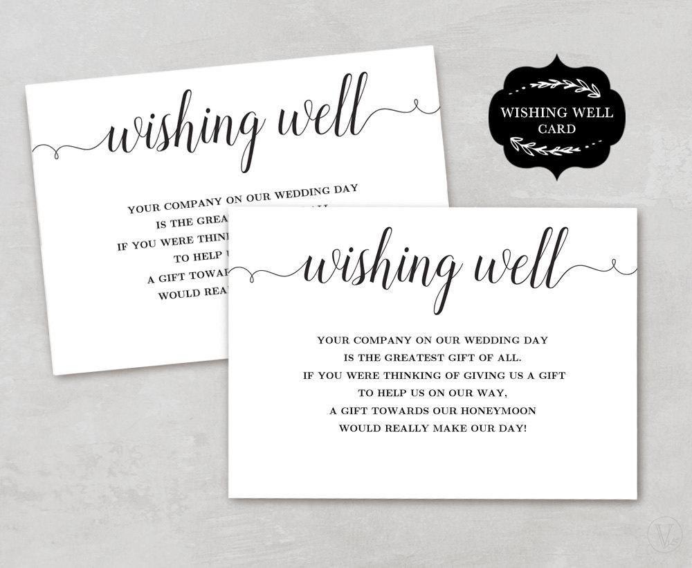 Wedding Invitation Wishing Well Wording: Wishing Well Card Template Printable Wishing Well Card DIY