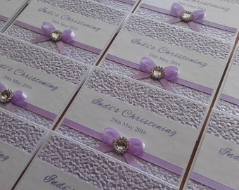 Baby Girl Christening Baptism Lilac Purple Pebble Invitation