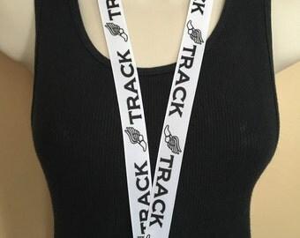 Black and White TRACK lanyard, ID holder, key holder