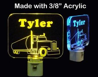 LED Kids Personalized Truck Night Light - Lamp - Oil Tanker, Nursery - baby
