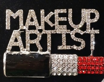 Makeup Artist Rhinestone Brooch Gift with Pin Back