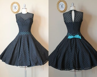 RESERVED Vintage 1950s ~ 50s Black Eyelet Swing Dress