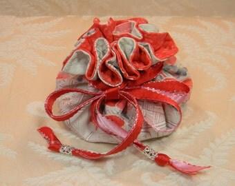 Red Blossoms Kimono Jewelry Pouch