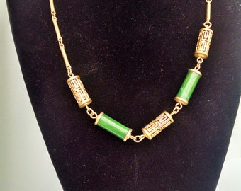 Vintage Sarah Coventry Faux Green Jade Necklace