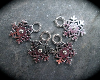 Snowflake charms Package of 4 shiny silver highly detailed charms with large hole Christmas Charms