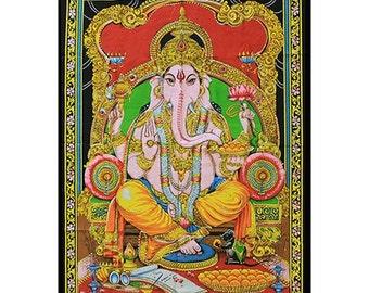 Indian God Ganesh Bedspread or Wall Hanging