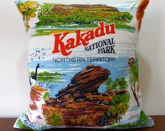 Kakadu Cushion Cover Australian Places Repurposed Upcycled Vintage Tea Towel Northern Territory NT Australiana Souvenir Barramundi Top End