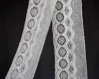 Cream off-white trim - wide eyelet vintage lace netting trim for clothing or decor