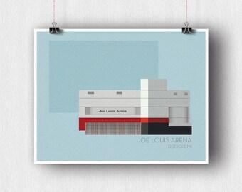 Joe Louis Arena Minimal Illustration Poster